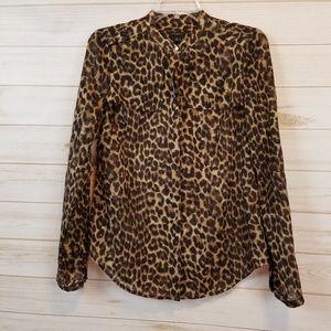 Ann Taylor animal print button down blouse top